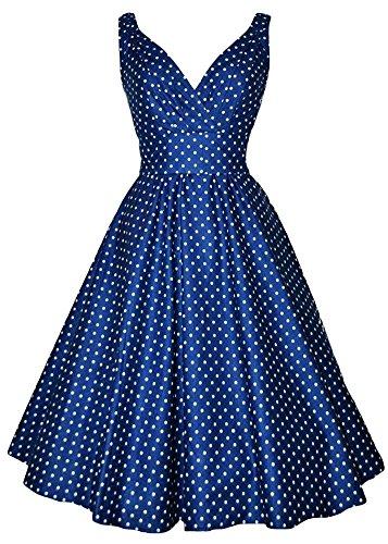 Summer Dot Polka Neck Dresses V Blue AvaCostume Vintage qAFTtt