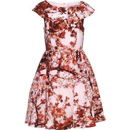 Para mujer de color rosa-red-Burgundy de flor de cerezo de Ted Baker e instrucciones para hacer vestidos Nude con impresión de colibríes y rosa: Amazon.es: ...