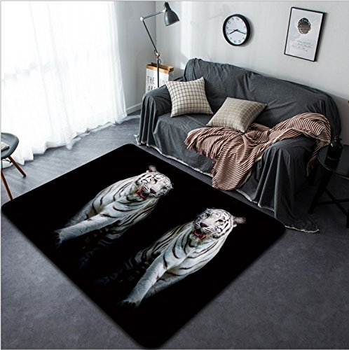 Vanfan Design Home Decorative 286319753 Twin white tigers are walking isolated on black background Modern Non-Slip Doormats Carpet for Living Dining Room Bedroom Hallway Office Easy Clean Footcloth by vanfan