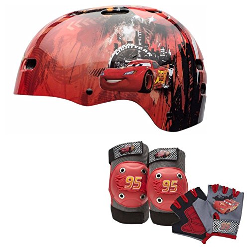 Bell Sports Black Multi Sport Helmet - Disney Pixar Cars Kids Skate / Bike Helmet Pads & Gloves - 7 Piece Set