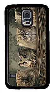 Cats And Owl Black Hard Case Cover Skin For Samsung Galaxy S5 I9600