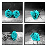 LKY ART Canvas Wall Art for Living Room Rose Painting Teal Black and White Floral Pictures - Big Modern Flower Prints - 4 Multi Panel Canvas Wall Art for Bedroom (12x48inch Total (Rose))