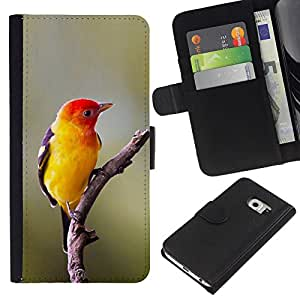 KLONGSHOP // Tirón de la caja Cartera de cuero con ranuras para tarjetas - amarillo ave canora aves naturaleza rama de la primavera - Samsung Galaxy S6 EDGE //