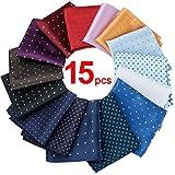 15 Pcs Mens Pocket Squares Assorted Polka Dots (Style 1)