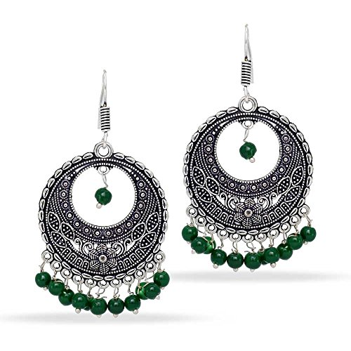 Jaipur Mart 10.00 Grams Indian Bollywood Traditional Ethnic Glass Stone Silver Plated Dangle Earrings Green Jewellery Gift For Women - Green Silver Plated Ring