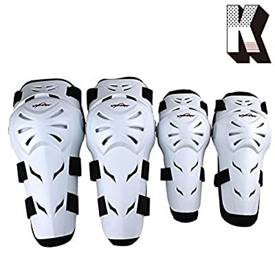 Kagogo 4Pcs Motorcycle Knee Elbow Protector Motocross Racing Knee Shin Guard Pads Protective Gear Armors Set for Adults (White) : Sports & Outdoors