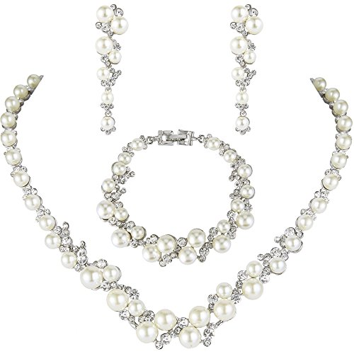 EVER FAITH Simulated Pearl Crystal Bridal Necklace Earrings Bracelet Set Clear]()