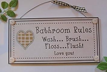 Amazon.de: Wandschild für das Badezimmer mit Badezimmerregeln \