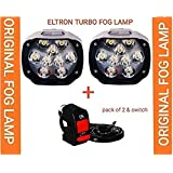 ELTRON TURBO 9 led eltron Fog Light Waterproof Black Body high Beam lamp with Switch for Motorcycle/car and Other Motors White 9 Bead