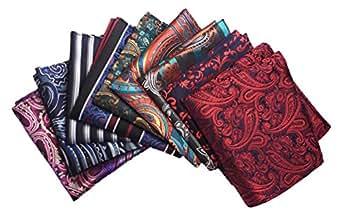 MENDENG Men's 9 Pack Mixed Color Paisley Stripe Pocket Square Party Handkerchief