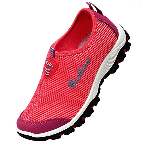 Lisyline Women Mesh Breathable Quick Drying Slip On Aqua Water Shoes Rose
