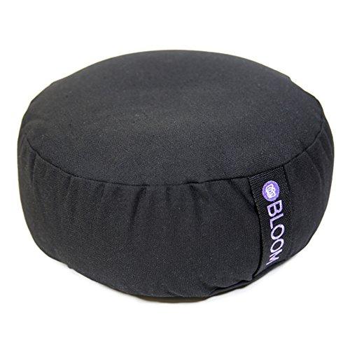 BLOOM Zafu Meditation Pillow Cushion, Round Yoga Bolster Adjustable Buckwheat Hull Fill, Premium Cotton, Removable Washable Case, Carry Handle, Zipper