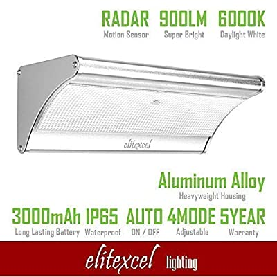 New Upgraded Elitexcel 900 Lumens Outdoor Solar Wall Light with Waterproof Aluminum Alloy Housing, 80W PSMH Replace, Super Bright 48 LED, 4 Mode Switch and Radar Motion Sensor for Outdoor Security