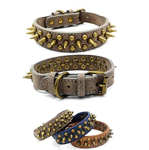 Kismaple Heavy Duty Adjustable Dog Collar Leather Sharp Spiked Studded Sturdy Anti-bite rustproof Stylish Classic Dog Collar XS, S, M, L, XL (XS Length: 32cm, Grey)