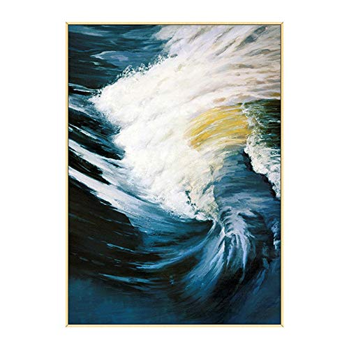 ainted Oil Paintings Oil Painting Hand-Painted Large Cloud Sea Tumbling Abstract Light Luxury Modern Porch Decorative Painting Aisle Corridor Vertical Painting,80×120Cm ()