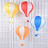 Set of 5 Party Hanging 12 inches Rainbow Hot Air Balloon Paper Lanterns Christmas Accessories Birthday Party Wedding Decoration Stripe Set by Sogorge