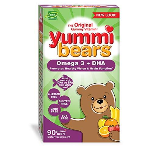 Yummi Bears Omega 3 + DHA Gummy Vitamin Supplement for Kids, 90 Gummies