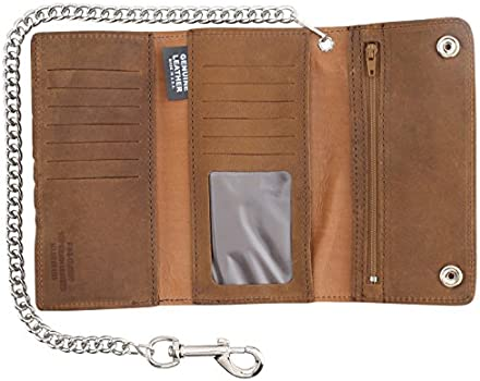 Black Leather Made in USA Trucker Wallet with Chain Deluxe Credit Card Biker