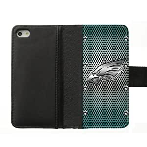 2015 popular NFL Vintage Metal Style Pattern Philadelphia Eagles iPhone5S Team Logo High Fabric Cloth Hard Plastic Case and Leather Cover