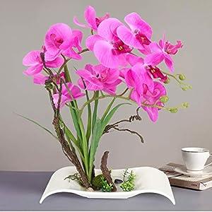 YOBANSA Big Size Orchid Bonsai Artificial Flowers with Imitation Porcelain Flower Pots Phalaenopsis Fake Flowers Arrangements for Home Decoration (Rose Red) 12
