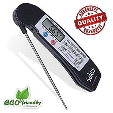 Food Thermometer, Cooking Thermometer, Sokos Quick Read Digital Cooking Thermometer for All Food | Grill | BBQ and Candy, Fastest Meat Thermometer with LCD Screen (Black)