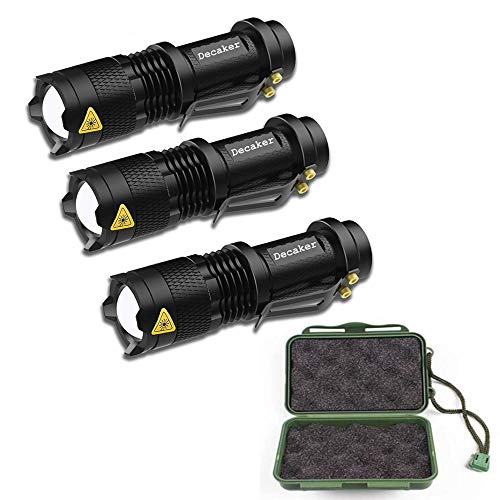3 Pcs Tactical Military Flashlight 500 Lumen Single Mode Zoomable Torch Set with Carrying Case