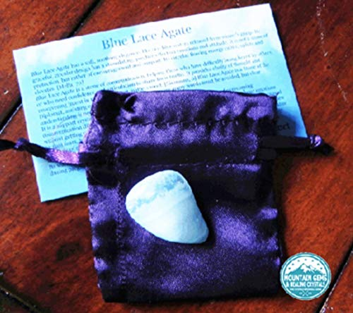 Blue Lace Agate Kit comes with Card and Satin Pouch