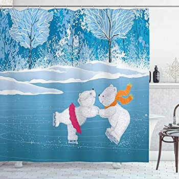 Ambesonne Cartoon Shower Curtain, Little Polar Bears Skating on Frozen Lake Love Partners Christmas Theme, Cloth Fabric Bathroom Decor Set with Hooks, 70
