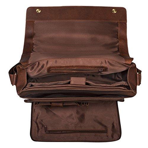 STILORD Tom Vintage Leder Umhängetasche für Studium Uni Büro Arbeit 15 Zoll Laptoptasche DIN A4 Schultertasche Echtleder, Farbe:havanna - braun havanna - braun