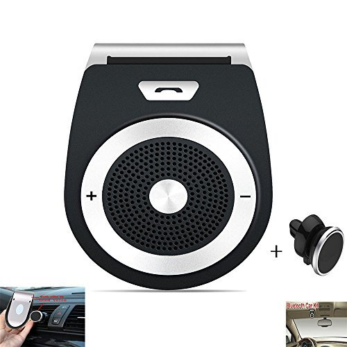 Bluetooth Car Speaker Handsfree Car Visor Speakerphone Bluetooth Phone Speaker for Car Wireless Bluetooth In-car Speakerphone Stereo Music Player with Magnetic Phone Car Mount Holder Car Kit (Black) by Good voice
