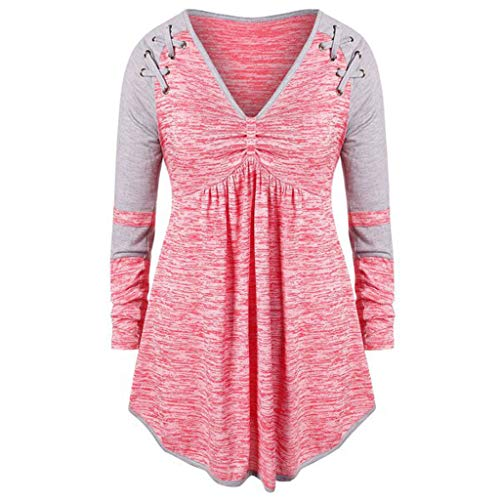 Baiggooswt Fashion Women Plue Size V-Neck Ruched Patchework Grommet Ribbons Color Block Top