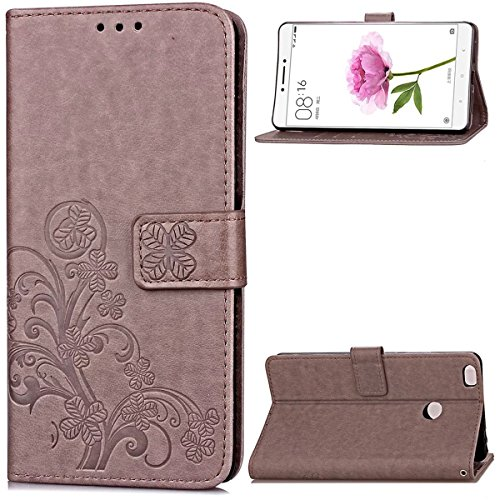 Xiaomi Mi Max Case,Gift_Source[Card Slot][Kickstand Feature]Vintage Emboss Flower PU Leather Magnetic Wallet Folio Flip Cover Case Shell with Wrist Strap for Xiaomi Mi Max/Max 6.44 Inch [Gray]
