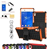 Sony Xperia Z3+ Case,Mama Mouth Shockproof Heavy Duty Combo Hybrid Rugged Dual Layer Grip Cover with Kickstand For Sony Xperia Z3+ (With 4 in 1 Free Gift Packaged), Orange
