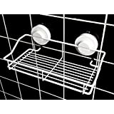 Suction Shower Caddy Shelf, Stainless Steel in White Finish