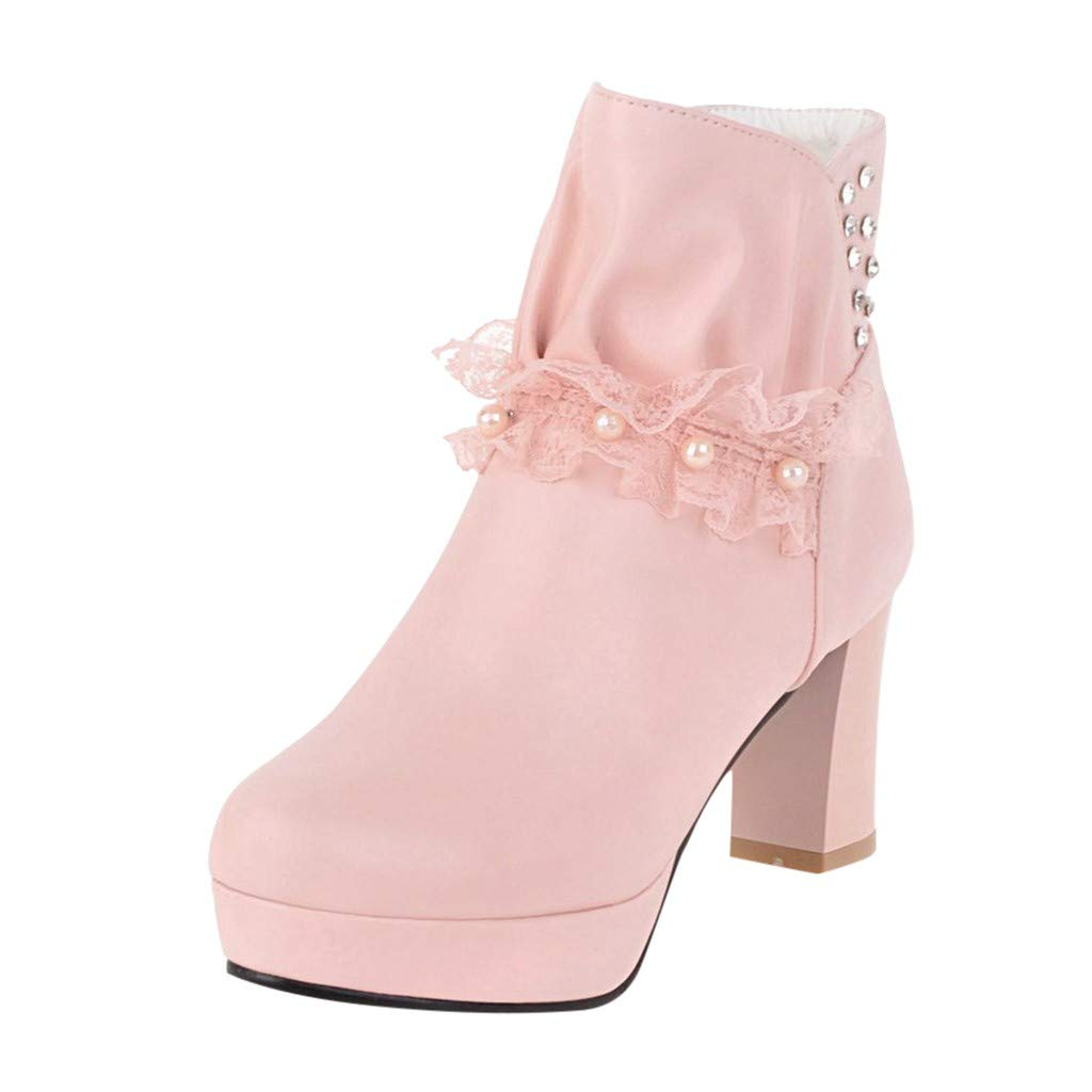 POPNINGKS Women's Comfy Mid Chunky Heels Platform Lace Up Side Zipper Ankle Boots Riding Booties Pink by POPNINGKS