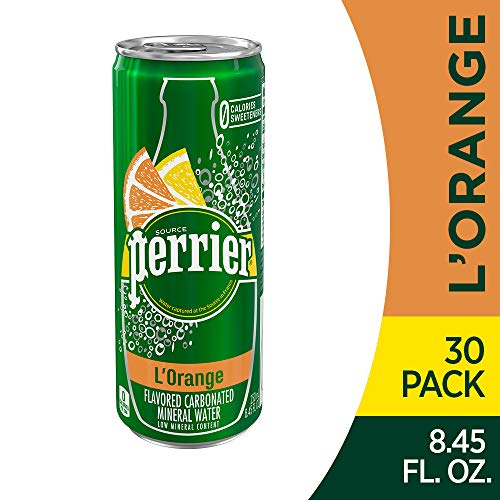(Perrier L'Orange Flavored Sparkling Mineral Water (Lemon Orange Flavor), 8.45 fl oz. Slim Cans (Pack of 30))