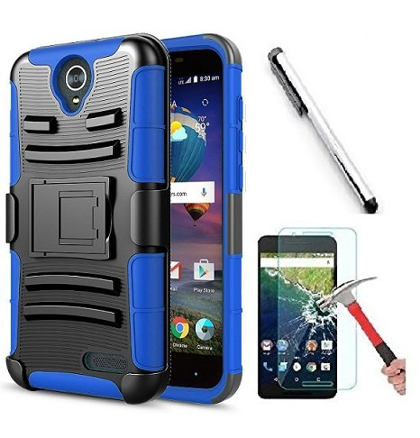 Faceplate Blue Belt Clip (Compatible with ZTE Prestige 2 N9136/Maven 3 Z835/Overture 3/Prelude Plus Z851/ZFive 2 Z836, Luckiefind Hybrid Side Kickstand Cover Case With Holster Clip (Holster Blue))