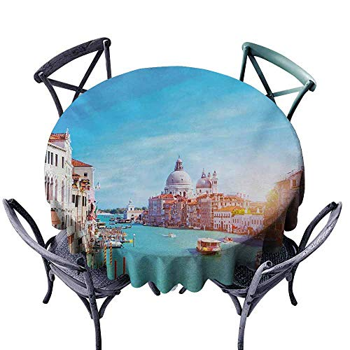 (VIVIDX Stain Round Tablecloth,Venice,Grand Canal and The Salute Basilica on Sunny Day Touristic Destination,Table Cover for Home Restaurant,70 INCH,Sky Blue White Cinnamon)