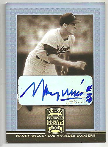 2005 Donruss Greats Baseball Maury Wills Autographed Card # 58 Dodgers