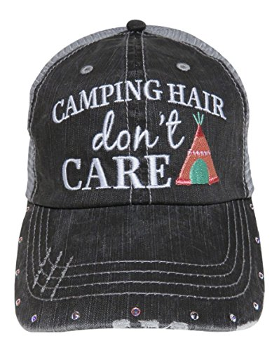 Embroidered Camping Hair Don't Care Vintage Style Grey Trucker Cap Hat (Coral/Mint Teepee)
