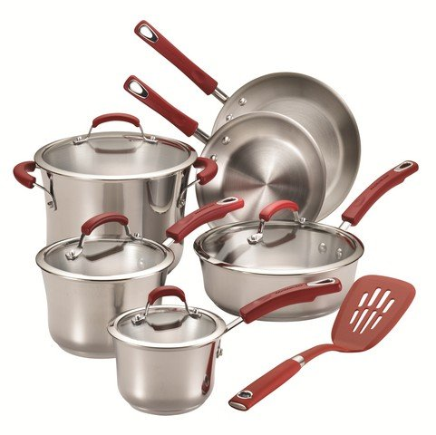 Rachael Steel Stainless Ray Skillet (Rachael Ray Classic Brights Stainless Steel 11-Piece Cookware Set, Red Handles)