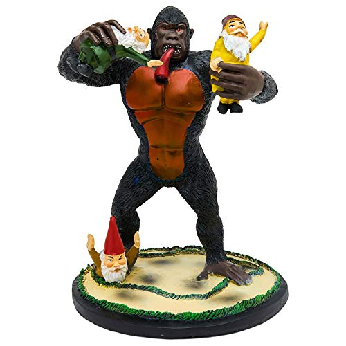 Garden Gnome Statue Home Outdoor Garden Lawn Funny Figure Gorilla Great Gifts Collectors Item -
