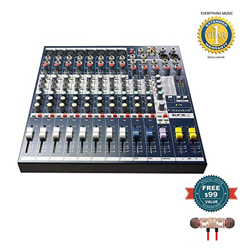(Soundcraft EFX8 High-Performance 8-Channel Audio Mixer includes Free Wireless Earbuds - Stereo Bluetooth In-ear and 1 Year Everything Music Extended Warranty)