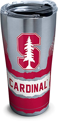 (Tervis 1268378 Stanford Cardinal Knockout Stainless Steel Tumbler with Clear and Black Hammer Lid 20oz, Silver)