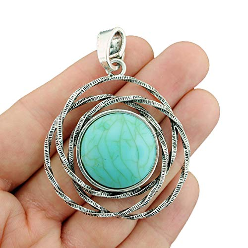 - Turquoise Pendant Charm Antique Silver Tone Imitation Turquoise Stone with Attached Loop - SC3263