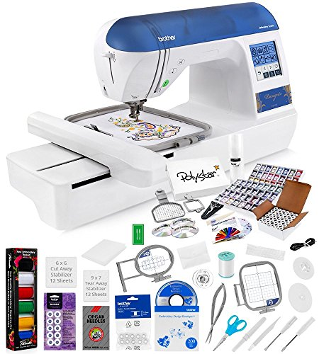 Brother Designio DZ820E Embroidery Machine + Grand Slam Package Includes 64 Embroidery Threads + Prewound Bobbins + Cap Hoop + Sock Hoop + Stabilizer + 15,000 Designs + Scissors ($1,170 Value) (Brother Embroidery Cds compare prices)