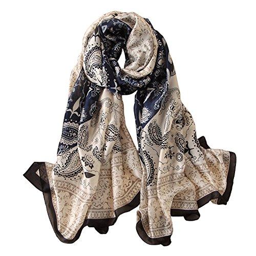 Blue Silk Long Scarf (Alice Women Classy Silk Paisley Print Long Scarf Shawls Wraps Navy Blue)