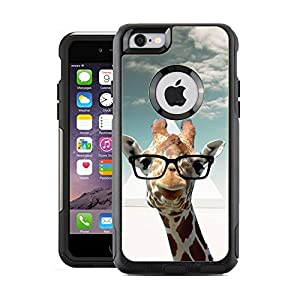 Protective Designer Vinyl Skin Decals for OtterBox Commuter iPhone 6 / 6S Case / Cover - Hipster Giraffe Geek Glass Design Pattern - Only SKINS and NOT Case - by [TeleSkins]