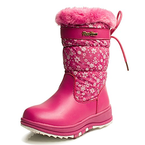 Toe Steel Calf Sneaker (Children Winter Mid-Calf Boots For Girls Round Toe Plush Flat With Snow Boots Unisex Plush Zip Shoes (Pink-28/11 M US Little Kid))