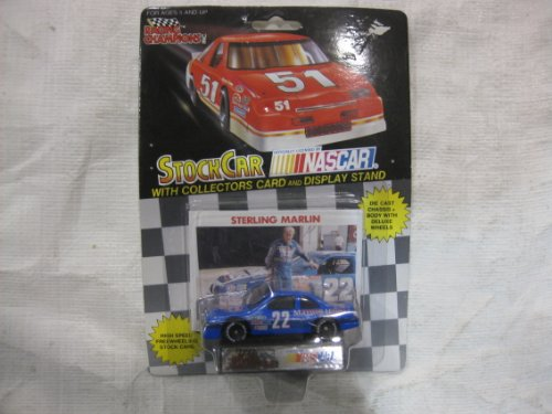 Maxwells Wheel (NASCAR #22 Sterling Marlin Maxwell House Racing Team Stock Car With Driver's Collectors Card And Display Stand. Racing Champions Black Background Red Series 51 Car)